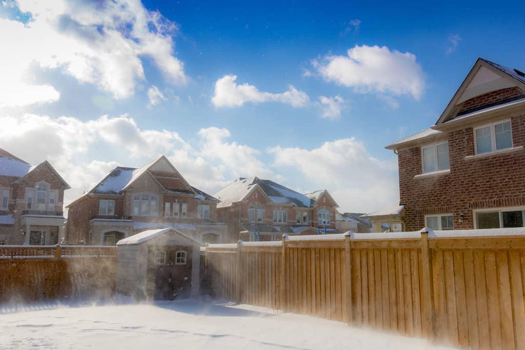 a snowy backyard during winter