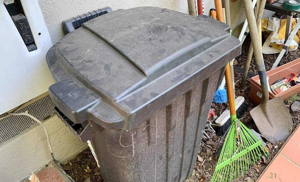 My parent's cold compost bin made from a trash can