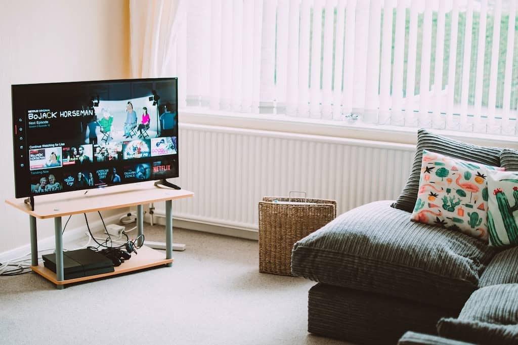 tv showing netflix in a living room