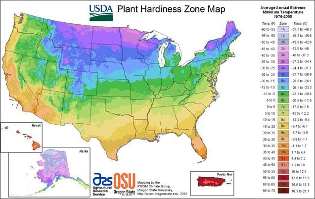 US hardiness zone map