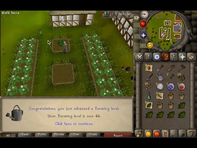 Runescape gameplay farming