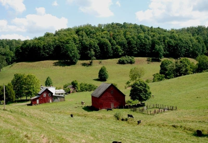 A farm on a hillside in West Virginia
