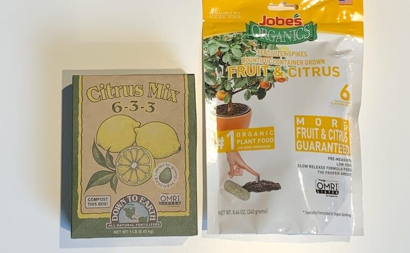 Down to Earth and Jobe's organic citrus fertilizer