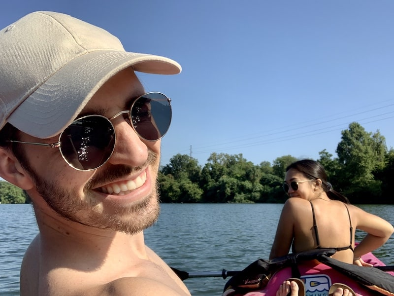 Tyler and his girlfriend Amy kayaking in Austin Texas