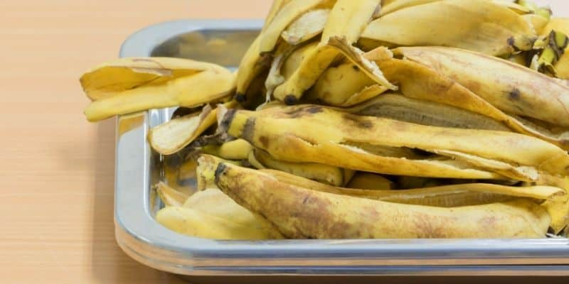 banana peels on a baking sheet