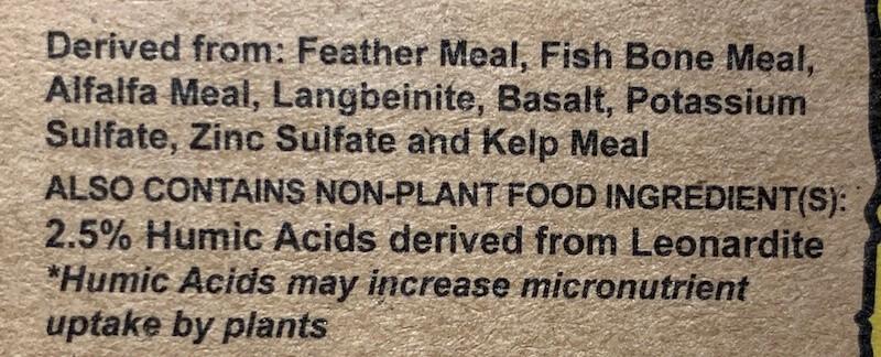 ingredient list on Down to Earth citrus fertilizer