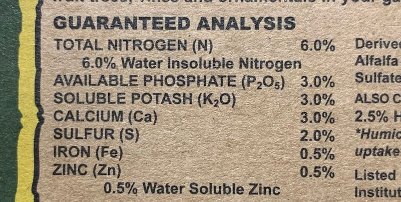 nutrient analysis on Down to Earth citrus fertilizer