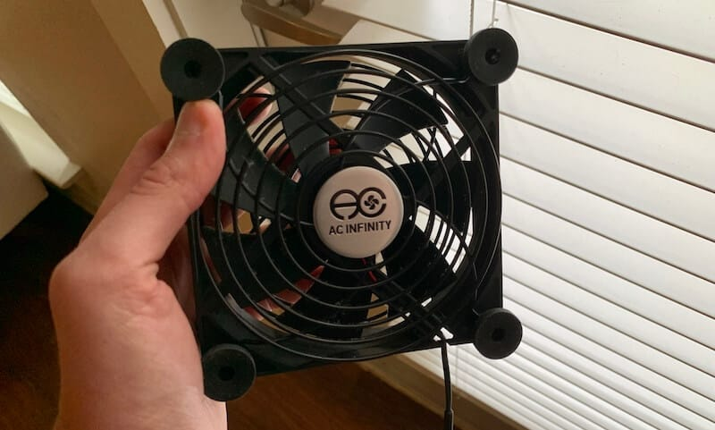 a USB fan I use to dry out garden soil