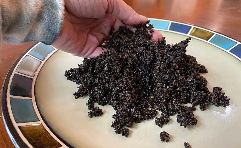 our leftover coffee grounds from our French press
